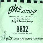 Single GHS BB32 Bright Bronze Wound Strings