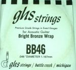 Single GHS BB46 Bright Bronze Wound Strings